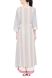 Blue & Off White Printed Kurta With Palazzo Pants by Soup by Sougat Paul
