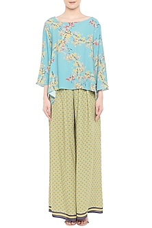 Blue Printed Top With Green Palazzo Pants by Soup by Sougat Paul