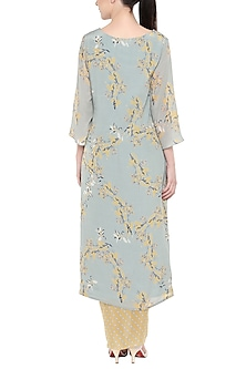 Blush Blue Printed Kurta With Yellow Dhoti Skirt by Soup by Sougat Paul