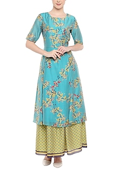 Blue Printed Tunic With Olive Green Lehenga Skirt by Soup by Sougat Paul