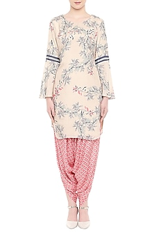 Off White Printed Kurta With Pink Drape Dhoti Pants by Soup by Sougat Paul