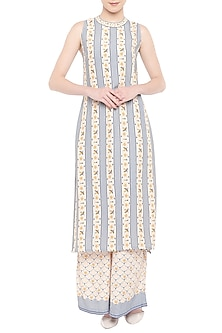 Blush Pink & Blush Blue Printed Kurta With Pants by Soup by Sougat Paul