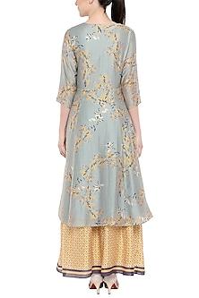 Blush Blue Printed Tunic With Yellow Lehenga Skirt by Soup by Sougat Paul