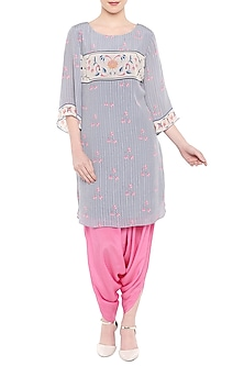 Blue Printed Kurta With Pink Dhoti Pants by Soup by Sougat Paul