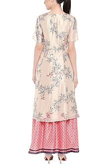 Off White Printed Tunic With Pink Lehenga Skirt by Soup by Sougat Paul