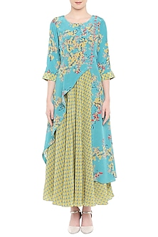 Blue Printed Ruffled Kurta With Olive Green Dhoti Skirt by Soup by Sougat Paul