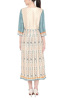 Off White & Blue Printed Dress by Soup by Sougat Paul