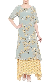 Grey Printed Kurta With Yellow Palazzo Pants by Soup by Sougat Paul