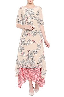 Pink Printed Wrap Dress by Soup by Sougat Paul