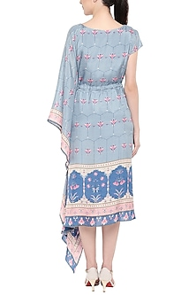 Pink & Blue Floral Printed Dress by Soup by Sougat Paul