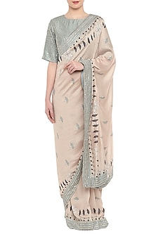 Blue & Off White Printed Saree Set by Soup by Sougat Paul