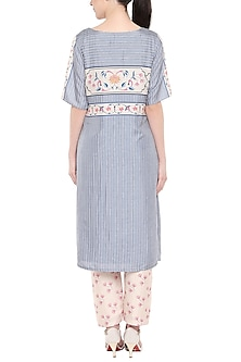 Blue & Blush Pink Kurta With Cigarette Pants by Soup by Sougat Paul