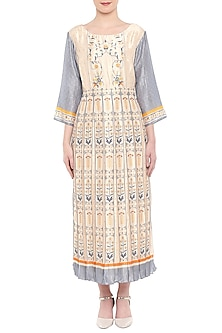 Blue & Off White Printed Tunic by Soup by Sougat Paul