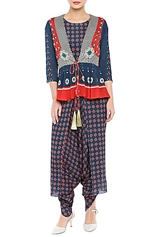 Red & Navy Blue Peplum Jacket With Printed Jumpsuit by Soup by Sougat Paul