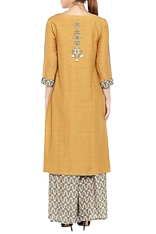 Mustard Printed Kurta With Grey Palazzo Pants by Soup by Sougat Paul