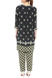 Black Printed Kurta With Pants & Asymmetrical Jacket by Soup by Sougat Paul