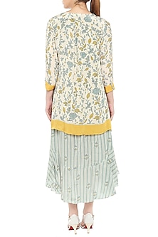 Blue & Yellow Printed Asymmetrical Jacket With Dress by Soup by Sougat Paul