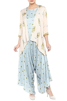 Blue Printed Jumpsuit With Baby Pink Jacket by Soup by Sougat Paul