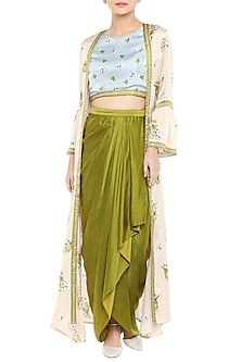 Blue Printed Crop Top With Olive Green Drape Skirt & Baby Pink Long Jacket by Soup by Sougat Paul