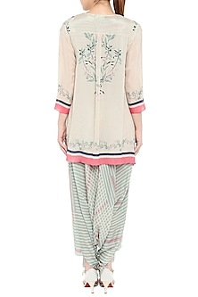 Pink & Blue Printed Jumpsuit With Asymmetrical Jacket by Soup by Sougat Paul