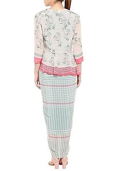 Pink & Blue Printed Drape Dress With Peplum Jacket by Soup by Sougat Paul