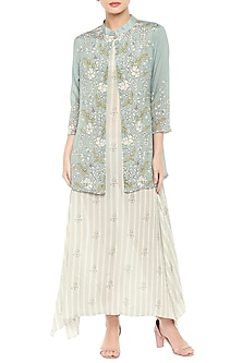 Beige & Blue Printed Dress With Jacket by Soup by Sougat Paul