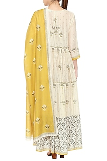 Mustard Yellow & Beige Embroidered Printed Kurta With Dupatta by Soup by Sougat Paul