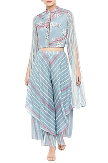 Sky Blue & Pink Embroidered Printed Short Jacket With Layered Pants by Soup by Sougat Paul