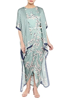 Blue & Pink Printed Drape Dress With Long Cape by Soup by Sougat Paul