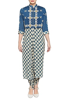 Blue & Beige Embroidered Printed Jacket With Jumpsuit by Soup by Sougat Paul
