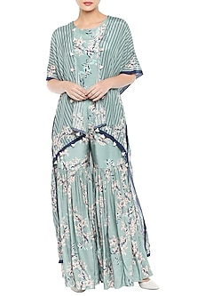 Blue & Pink Printed Cape Jacket With Jumpsuit by Soup by Sougat Paul