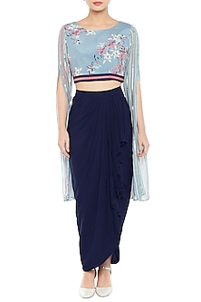 Sky Blue & Pink Embroidered Printed Crop Top With Skirt by Soup by Sougat Paul
