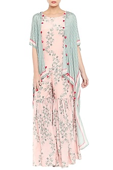 Blue Printed Cape Jumpsuit With Baby Pink Sharara Jumpsuit by Soup by Sougat Paul