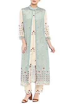 Pink Printed Kurta With Pants & Blue Long Jacket by Soup by Sougat Paul