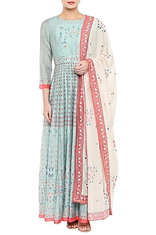 Blue Printed Long Anarkali With Beige Dupatta by Soup by Sougat Paul