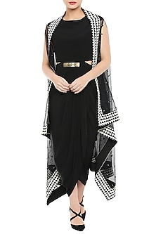 Black Drape Dress With White Embroidered Cape Jacket & Belt by Soup by Sougat Paul