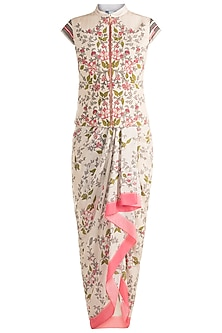 Ivory & Pink Jacket With Dhoti Skirt