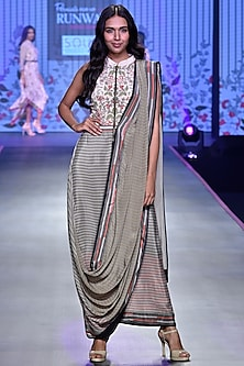 Ivory & Olive Green Drape Saree Gown by Soup by Sougat Paul
