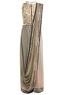 Ivory & Olive Green Drape Saree Gown