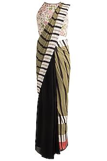 Ivory & Black Saree Set