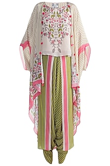 Ivory Top With Jacket & Dhoti Pants