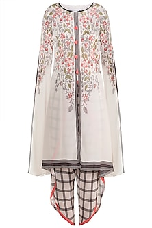 Ivory Long Kurta With Dhoti Pants
