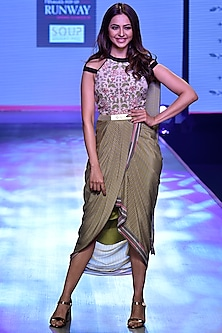 Olive Green & Ivory Saree Gown by Soup by Sougat Paul