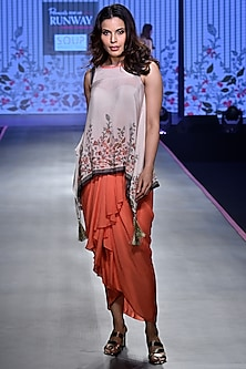Ivory & Coral Top With Dhoti Skirt by Soup by Sougat Paul
