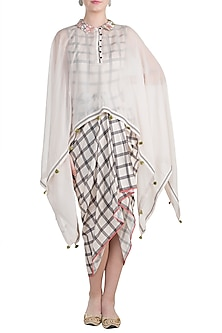 Ivory Draped Dress With Tasseled Cape by Soup by Sougat Paul