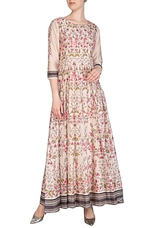 Off White Embroidered Printed Flared Maxi Dress by Soup by Sougat Paul