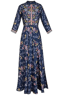 Indigo Blue Embroidered Printed Maxi Dress by Soup by Sougat Paul
