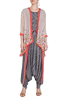 Indigo Blue Embroidered Printed Dhoti Jumpsuit With Floral Long Jacket by Soup by Sougat Paul
