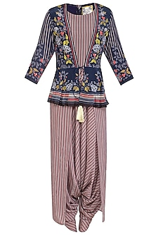 Off White Embroidered Printed Dhoti Jumpsuit With Indigo Blue Jacket by Soup by Sougat Paul