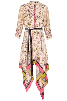 Off White Embroidered Printed High Neck Dress With Belt by Soup by Sougat Paul